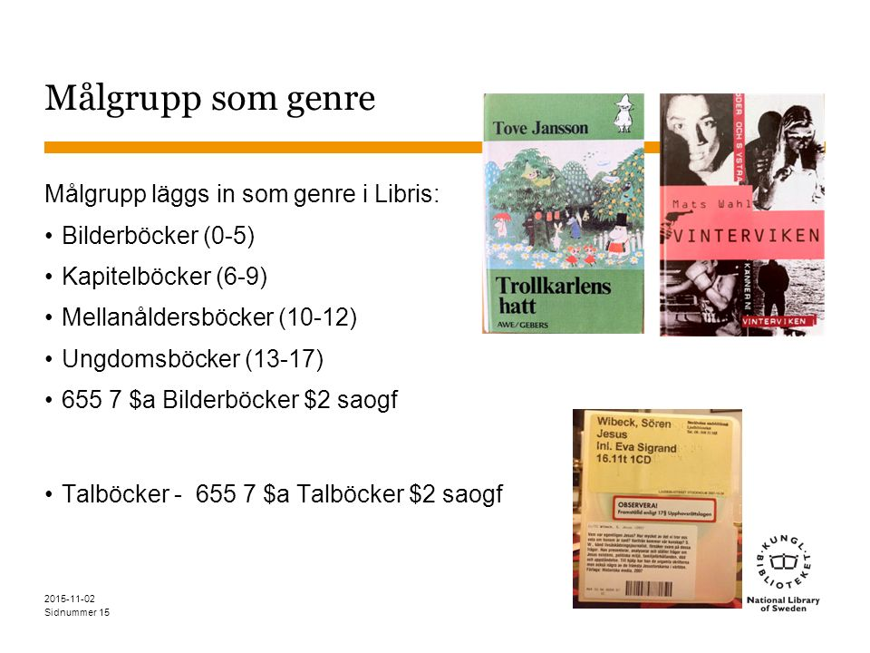 Sidnummer Målgrupp som genre Målgrupp läggs in som genre i Libris: Bilderböcker (0-5) Kapitelböcker (6-9) Mellanåldersböcker (10-12) Ungdomsböcker (13