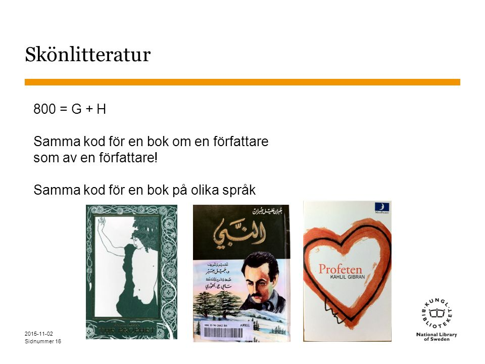 Sidnummer Skönlitteratur 800 = G + H Samma kod för en bok om en författare som av en författare! Samma kod för en bok på olika språk 2015-11-02 16
