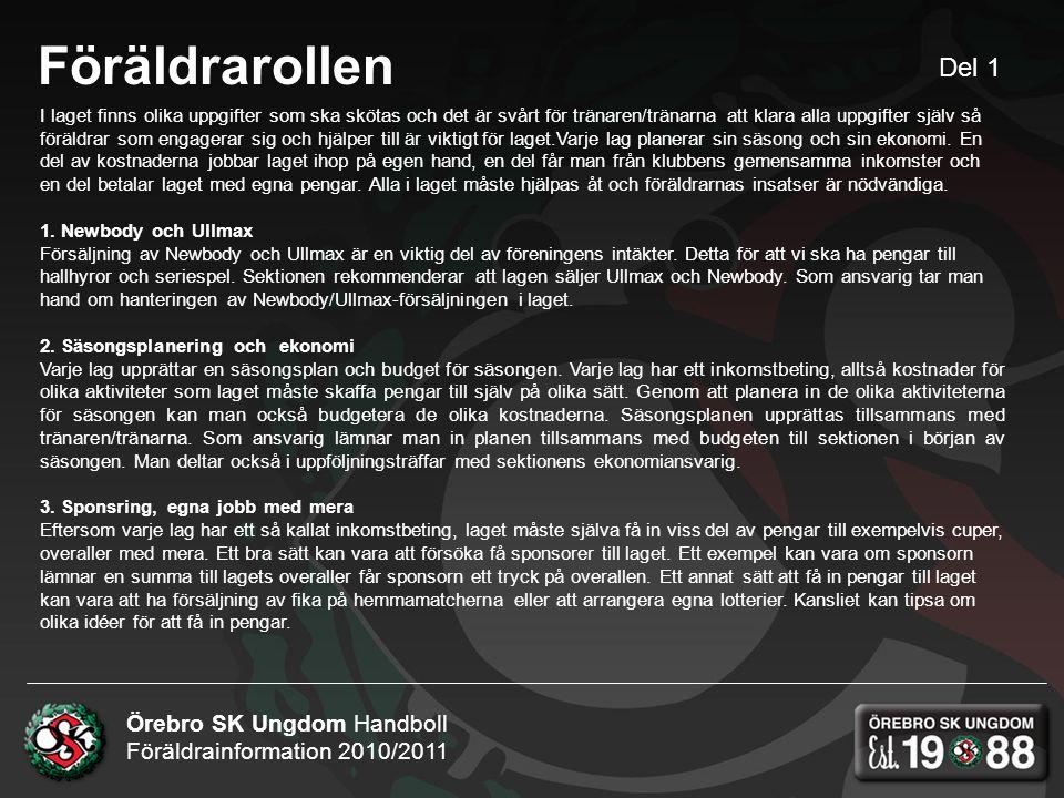 Örebro SK Ungdom Handboll Föräldrainformation 2010/2011 Föräldrarollen I laget finns olika uppgifter som ska skötas och det är svårt för tränaren/tränarna att klara alla uppgifter själv så föräldrar som engagerar sig och hjälper till är viktigt för laget.Varje lag planerar sin säsong och sin ekonomi.