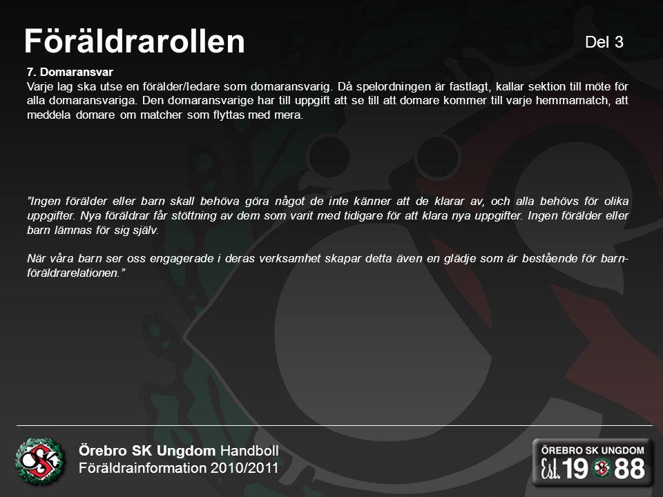 Örebro SK Ungdom Handboll Föräldrainformation 2010/2011 Föräldrarollen 7.