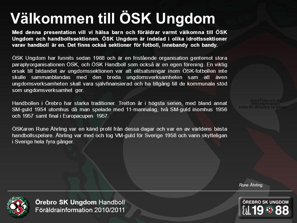 Örebro SK Ungdom Handboll Föräldrainformation 2010/2011 Välkommen till ÖSK Ungdom Med denna presentation vill vi hälsa barn och föräldrar varmt välkomna till ÖSK Ungdom och handbollssektionen.