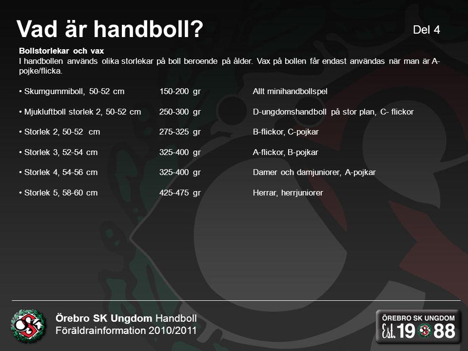 Örebro SK Ungdom Handboll Föräldrainformation 2010/2011 Vad är handboll.