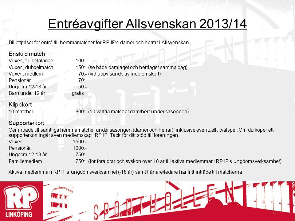 Entréavgifter Allsvenskan 2013/14 Biljettpriser för entré till hemmamatcher för RP IF:s damer och herrar i Allsvenskan Enskild match Vuxen, fullbetalande100:- Vuxen, dubbelmatch150:- (se både damlaget och herrlaget samma dag) Vuxen, medlem70:- (vid uppvisande av medlemskort) Pensionär70:- Ungdom 12-18 år50:- Barn under 12 årgratis Klippkort 10 matcher800:- (10 valfria matcher dam/herr under säsongen) Supporterkort Ger inträde till samtliga hemmamatcher under säsongen (damer och herrar), inklusive eventuellt kvalspel.