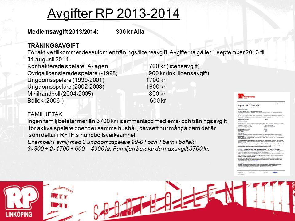 Avgifter RP 2013-2014 Medlemsavgift 2013/2014:300 kr Alla TRÄNINGSAVGIFT För aktiva tillkommer dessutom en tränings/licensavgift.