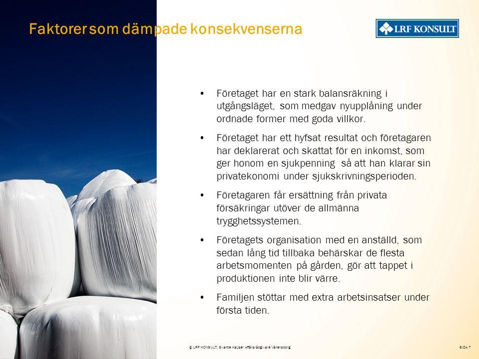 SIDA 7 15 maj 2008© LRF KONSULT, Svante Kaijser Affärsrådgivare Vänersborg Företaget har en stark balansräkning i utgångsläget, som medgav nyupplåning under ordnade former med goda villkor.
