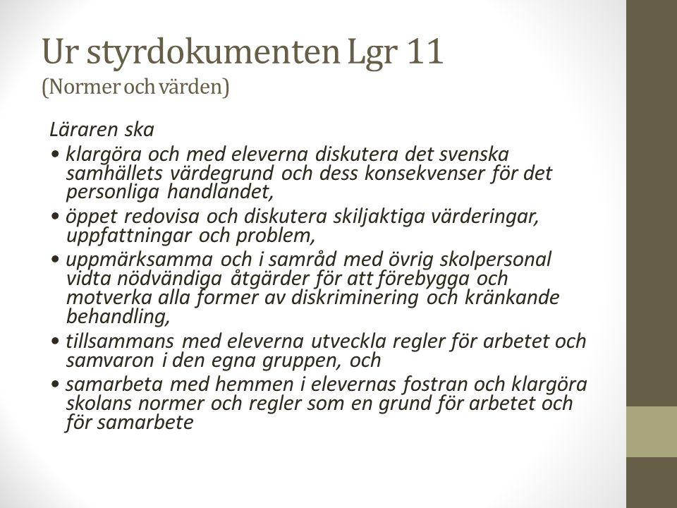Ur styrdokumenten Lgr 11 (Normer och värden) Läraren ska klargöra och med eleverna diskutera det svenska samhällets värdegrund och dess konsekvenser för det personliga handlandet, öppet redovisa och diskutera skiljaktiga värderingar, uppfattningar och problem, uppmärksamma och i samråd med övrig skolpersonal vidta nödvändiga åtgärder för att förebygga och motverka alla former av diskriminering och kränkande behandling, tillsammans med eleverna utveckla regler för arbetet och samvaron i den egna gruppen, och samarbeta med hemmen i elevernas fostran och klargöra skolans normer och regler som en grund för arbetet och för samarbete