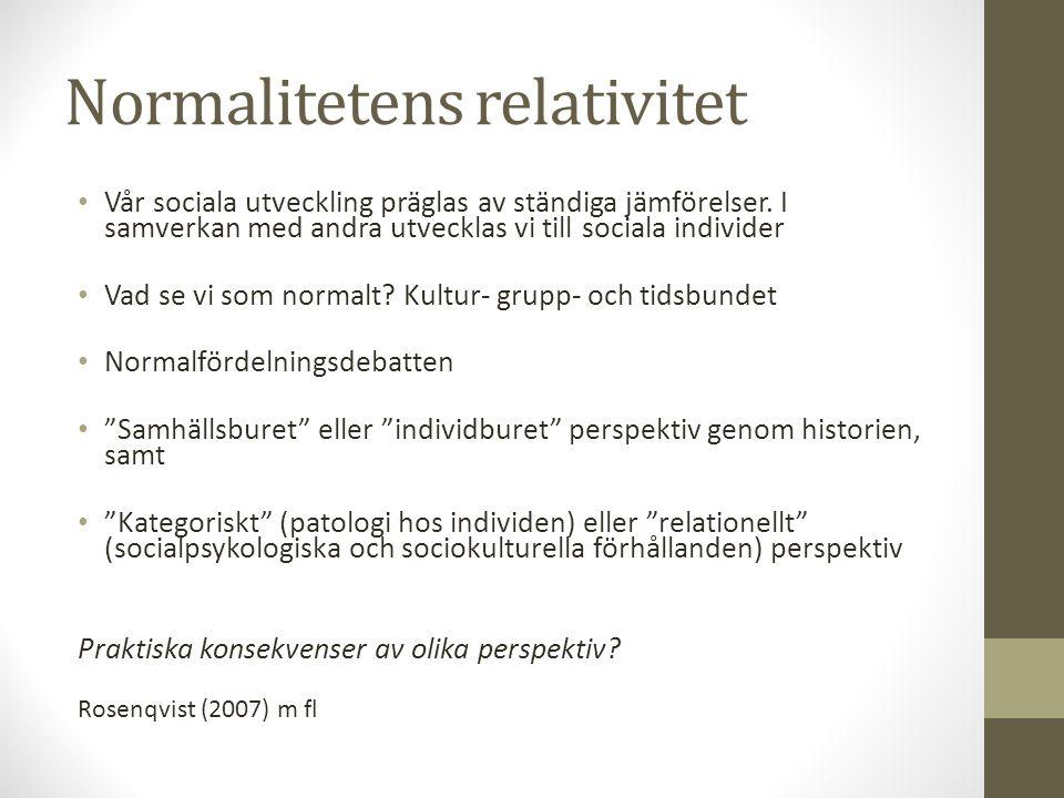 Kategorisering på gott och ont Exempel på kategorisering: -Psykiatridiagnostik, bokstavsdiagnostik -Socialgruppssystem -Skolorganisation (vidmakthålla struktur, resurseffektivitet, träffa rätt ) -Diskrimineringslagen 2009 Helldin (2007), m fl