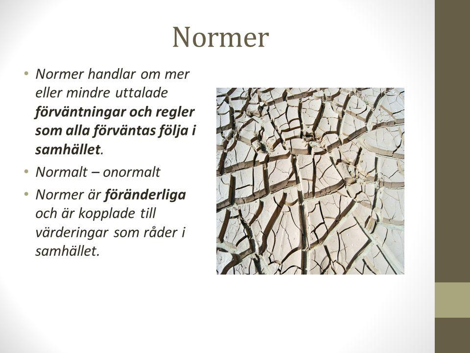 Normer Normer handlar om mer eller mindre uttalade förväntningar och regler som alla förväntas följa i samhället.