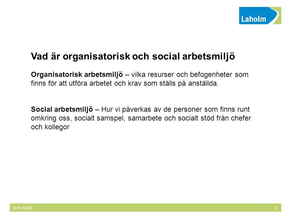Vad är organisatorisk och social arbetsmiljö Organisatorisk arbetsmiljö – vilka resurser och befogenheter som finns för att utföra arbetet och krav som ställs på anställda.