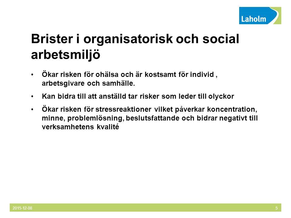Brister i organisatorisk och social arbetsmiljö Ökar risken för ohälsa och är kostsamt för individ, arbetsgivare och samhälle.