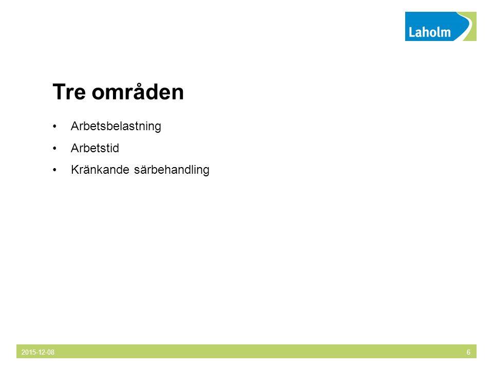 Tre områden Arbetsbelastning Arbetstid Kränkande särbehandling 2015-12-086