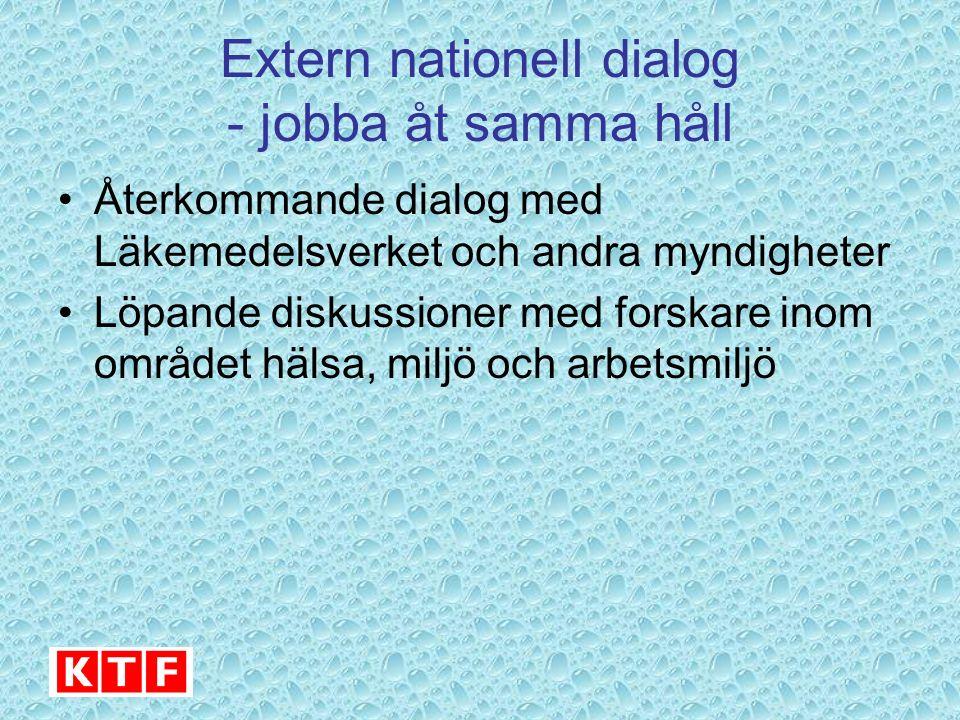 Extern nationell dialog - jobba åt samma håll Återkommande dialog med Läkemedelsverket och andra myndigheter Löpande diskussioner med forskare inom området hälsa, miljö och arbetsmiljö
