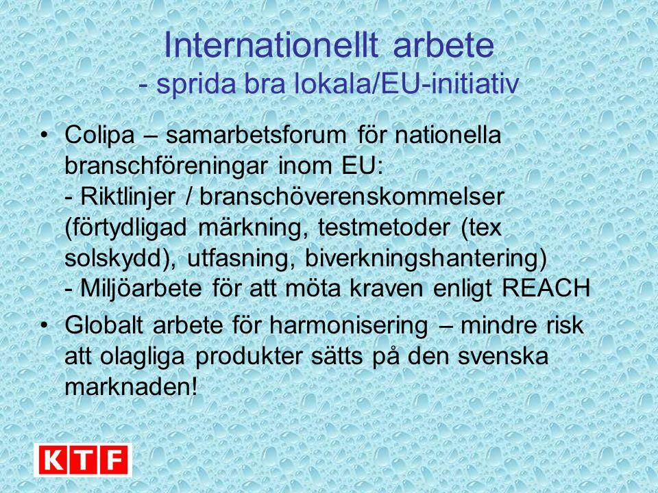 Internationellt arbete - sprida bra lokala/EU-initiativ Colipa – samarbetsforum för nationella branschföreningar inom EU: - Riktlinjer / branschöveren