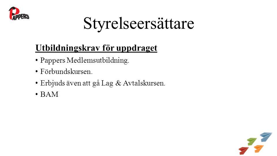 Styrelseersättare Utbildningskrav för uppdraget Pappers Medlemsutbildning.