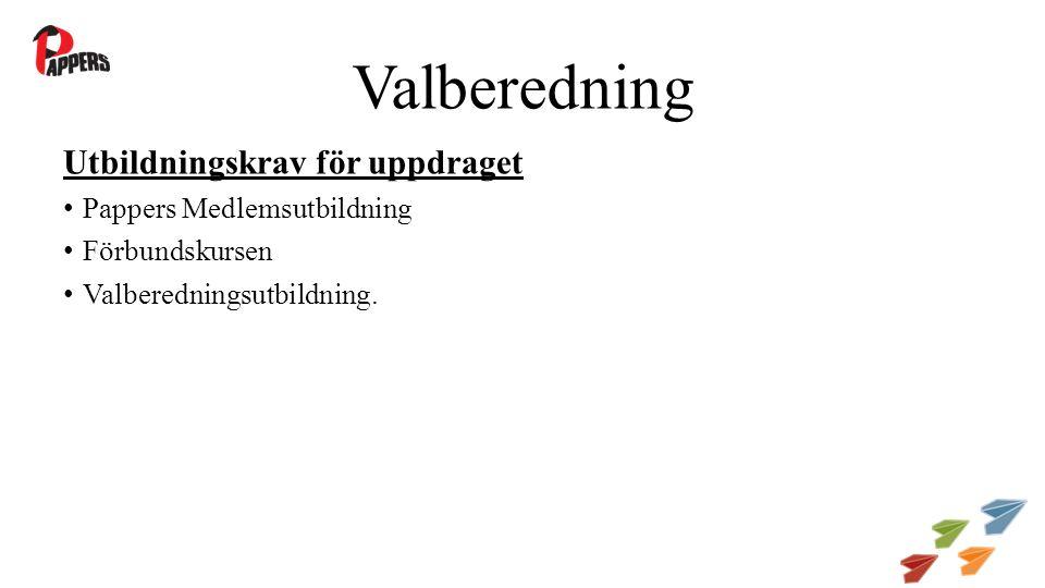 Valberedning Utbildningskrav för uppdraget Pappers Medlemsutbildning Förbundskursen Valberedningsutbildning.