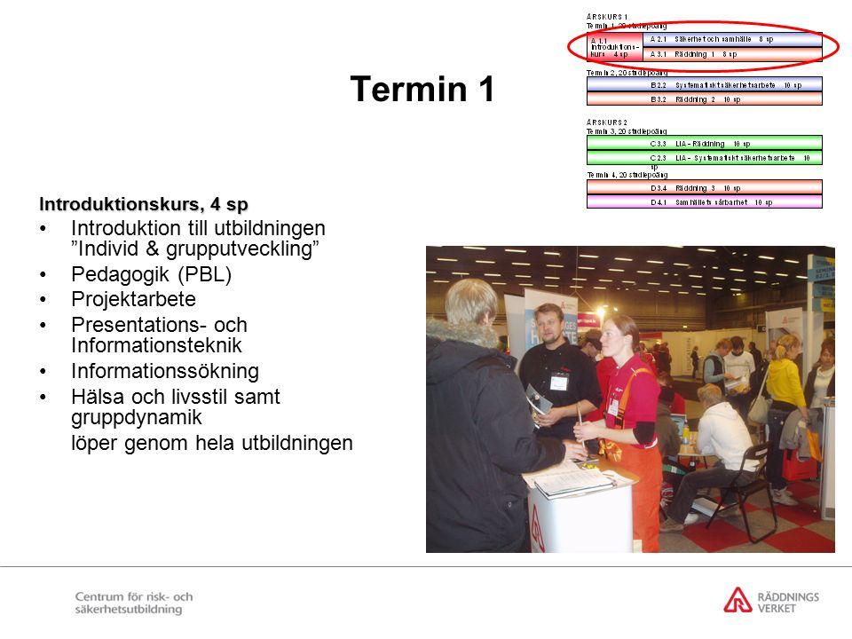 Termin 1 Introduktionskurs, 4 sp Introduktion till utbildningen Individ & grupputveckling Pedagogik (PBL) Projektarbete Presentations- och Informationsteknik Informationssökning Hälsa och livsstil samt gruppdynamik löper genom hela utbildningen