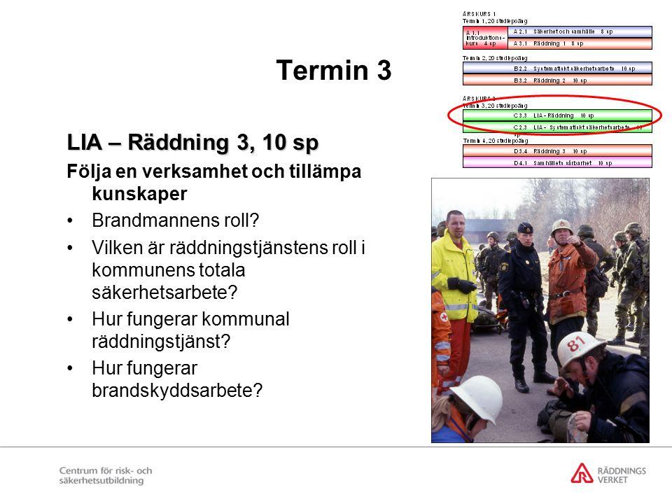 Termin 3 LIA – Räddning 3, 10 sp Följa en verksamhet och tillämpa kunskaper Brandmannens roll.