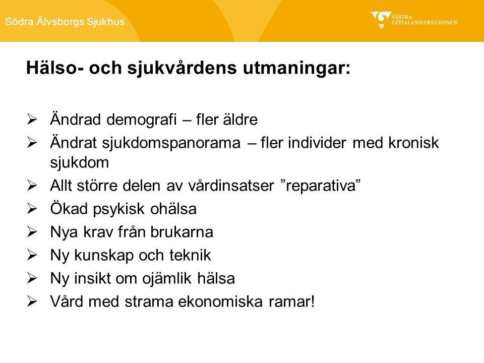 Södra Älvsborgs Sjukhus Hälso- och sjukvårdens utmaningar:  Ändrad demografi – fler äldre  Ändrat sjukdomspanorama – fler individer med kronisk sjukdom  Allt större delen av vårdinsatser reparativa  Ökad psykisk ohälsa  Nya krav från brukarna  Ny kunskap och teknik  Ny insikt om ojämlik hälsa  Vård med strama ekonomiska ramar!