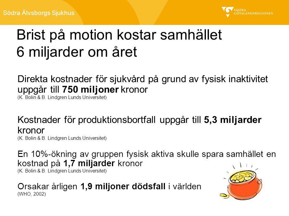 Södra Älvsborgs Sjukhus Brist på motion kostar samhället 6 miljarder om året Direkta kostnader för sjukvård på grund av fysisk inaktivitet uppgår till 750 miljoner kronor (K.