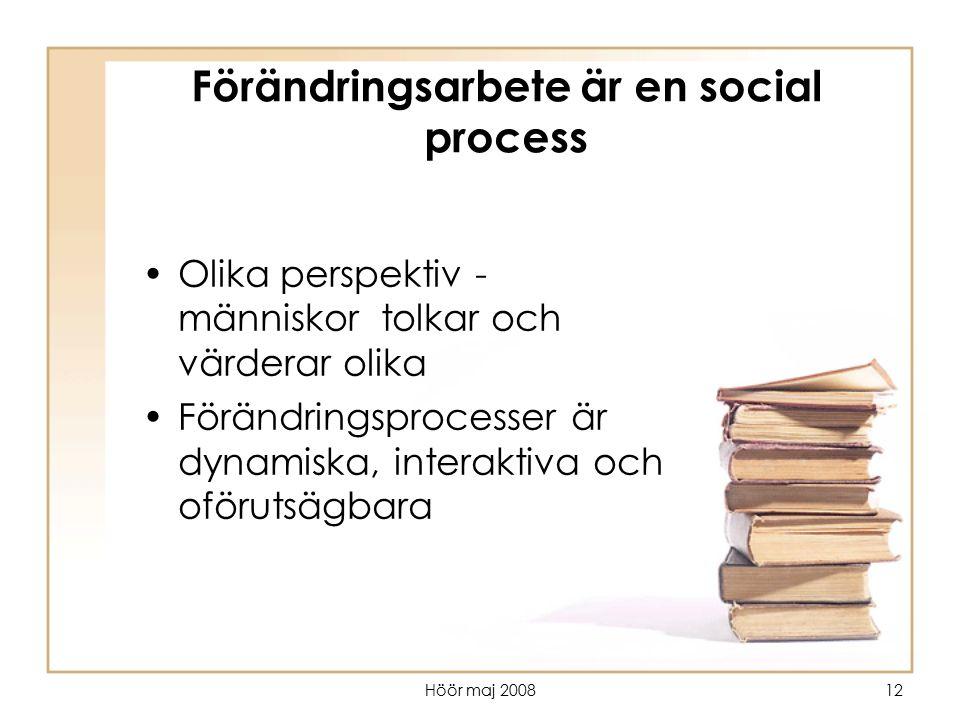 Höör maj 200812 Förändringsarbete är en social process Olika perspektiv - människor tolkar och värderar olika Förändringsprocesser är dynamiska, inter