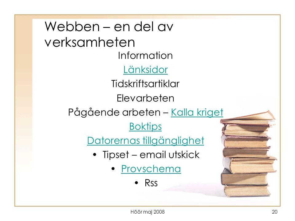 Höör maj 200820 Webben – en del av verksamheten Information Länksidor Tidskriftsartiklar Elevarbeten Pågående arbeten – Kalla krigetKalla kriget Bokti