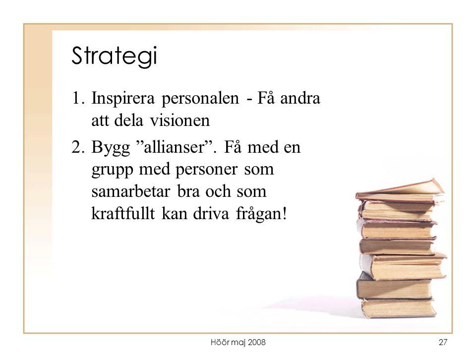 """Höör maj 200827 Strategi 1.Inspirera personalen - Få andra att dela visionen 2.Bygg """"allianser"""". Få med en grupp med personer som samarbetar bra och s"""