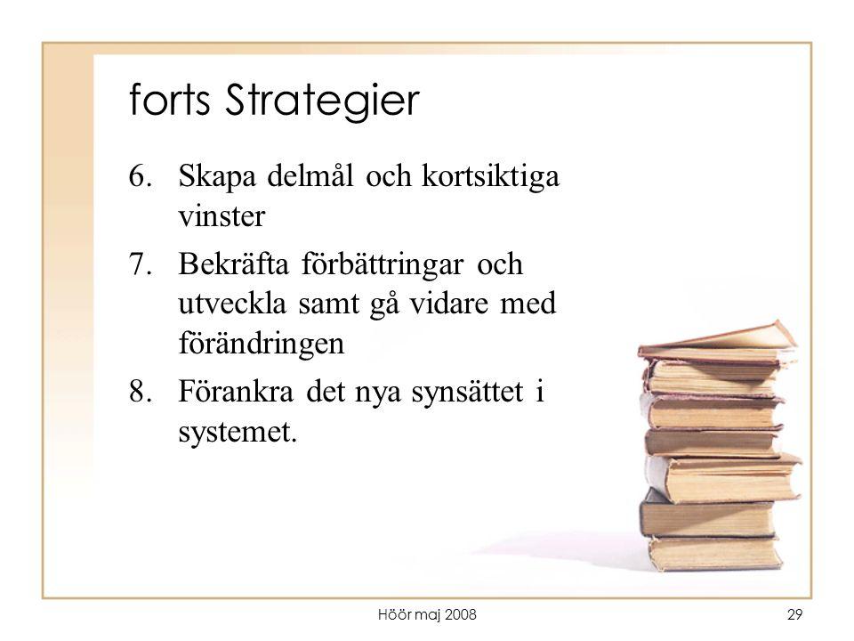 Höör maj 200829 forts Strategier 6.Skapa delmål och kortsiktiga vinster 7.Bekräfta förbättringar och utveckla samt gå vidare med förändringen 8.Förank