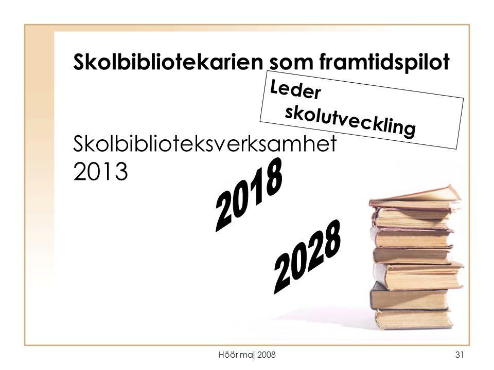 Höör maj 200831 Skolbiblioteksverksamhet 2013 Skolbibliotekarien som framtidspilot Leder skolutveckling