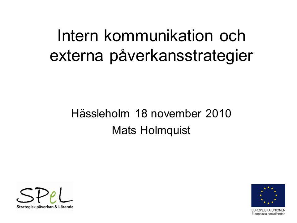 Intern kommunikation och externa påverkansstrategier Hässleholm 18 november 2010 Mats Holmquist