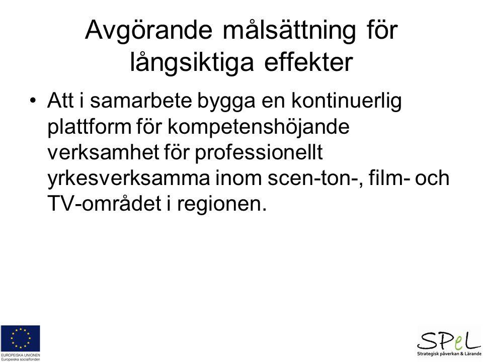 Avgörande målsättning för långsiktiga effekter Att i samarbete bygga en kontinuerlig plattform för kompetenshöjande verksamhet för professionellt yrkesverksamma inom scen-ton-, film- och TV-området i regionen.