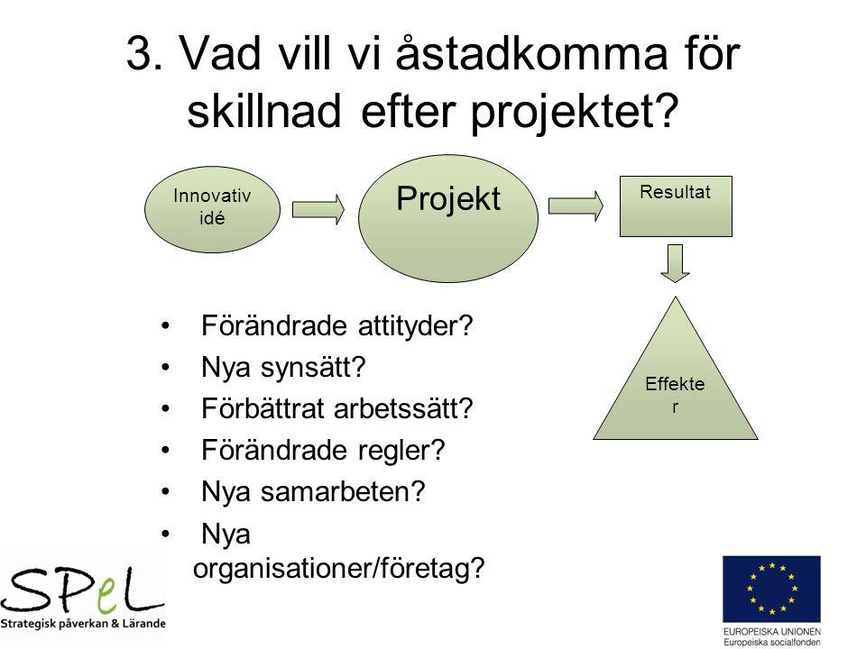 3. Vad vill vi åstadkomma för skillnad efter projektet.