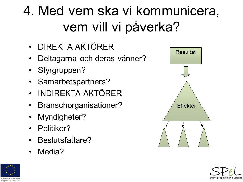 Resultat Effekter 4. Med vem ska vi kommunicera, vem vill vi påverka.