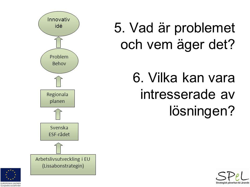 5. Vad är problemet och vem äger det. 6. Vilka kan vara intresserade av lösningen.