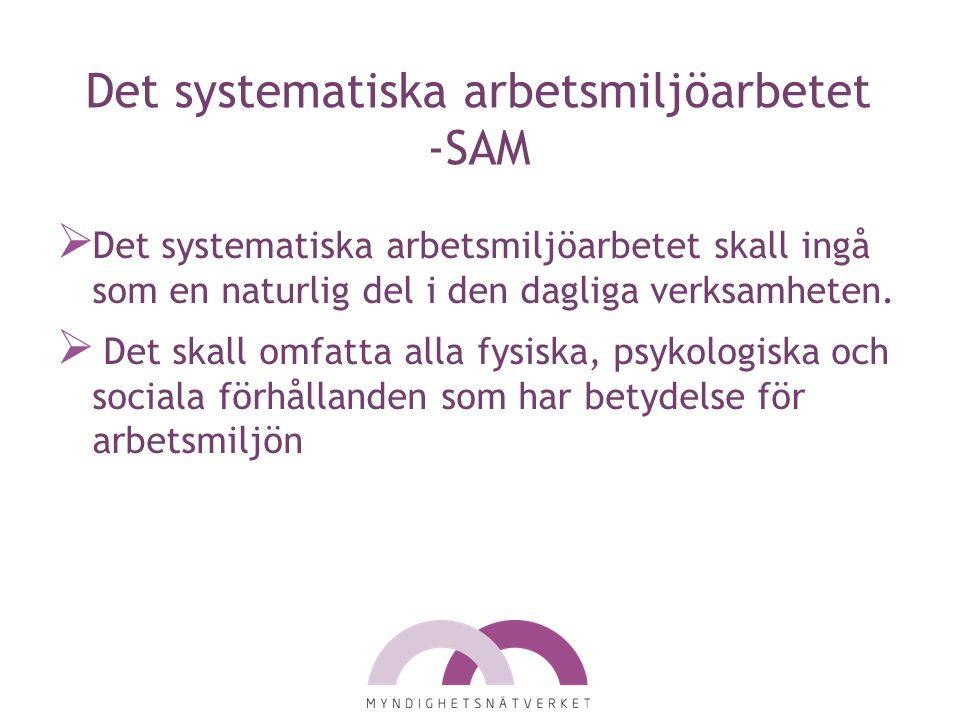 Det systematiska arbetsmiljöarbetet -SAM  Det systematiska arbetsmiljöarbetet skall ingå som en naturlig del i den dagliga verksamheten.  Det skall