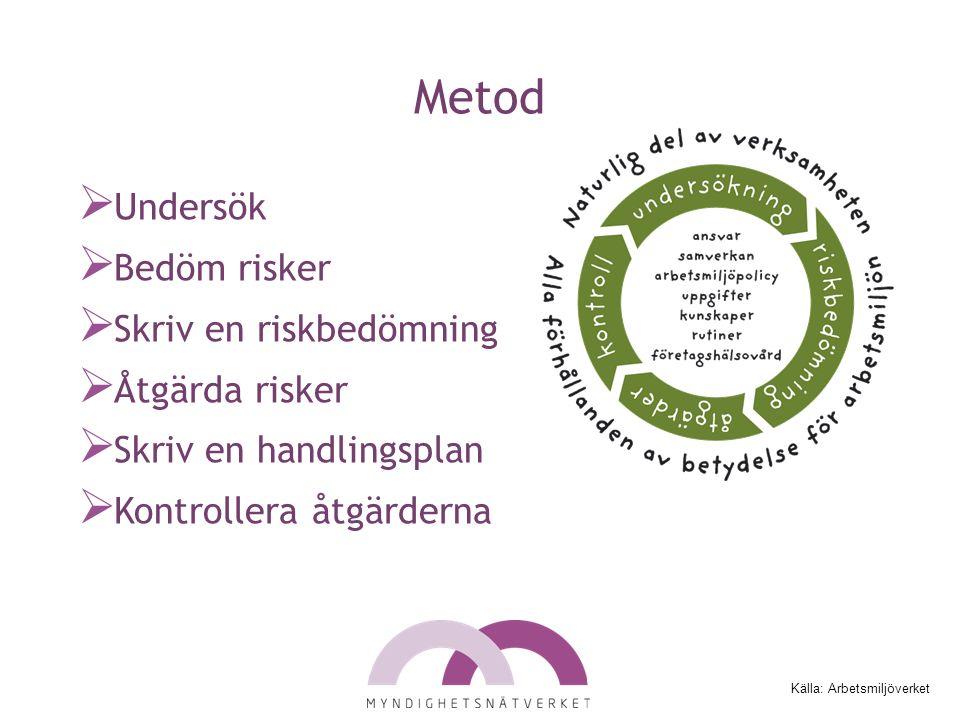 Metod  Undersök  Bedöm risker  Skriv en riskbedömning  Åtgärda risker  Skriv en handlingsplan  Kontrollera åtgärderna Källa: Arbetsmiljöverket