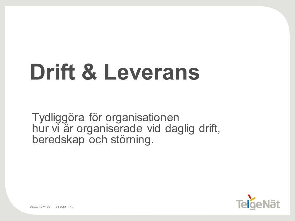 2016-09-20Sidan 16 Drift & Leverans Tydliggöra för organisationen hur vi är organiserade vid daglig drift, beredskap och störning.
