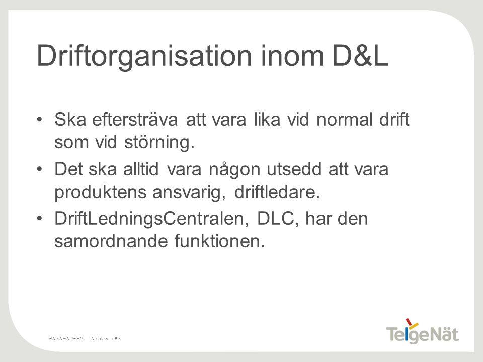 2016-09-20Sidan 17 Driftorganisation inom D&L Ska eftersträva att vara lika vid normal drift som vid störning.