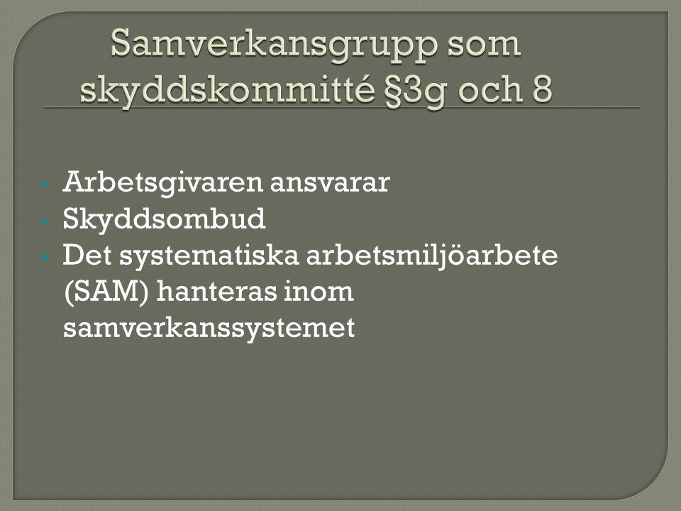 Arbetsgivaren ansvarar Skyddsombud Det systematiska arbetsmiljöarbete (SAM) hanteras inom samverkanssystemet
