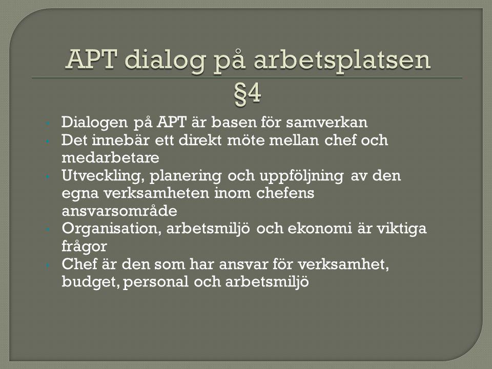 Dialogen på APT är basen för samverkan Det innebär ett direkt möte mellan chef och medarbetare Utveckling, planering och uppföljning av den egna verksamheten inom chefens ansvarsområde Organisation, arbetsmiljö och ekonomi är viktiga frågor Chef är den som har ansvar för verksamhet, budget, personal och arbetsmiljö