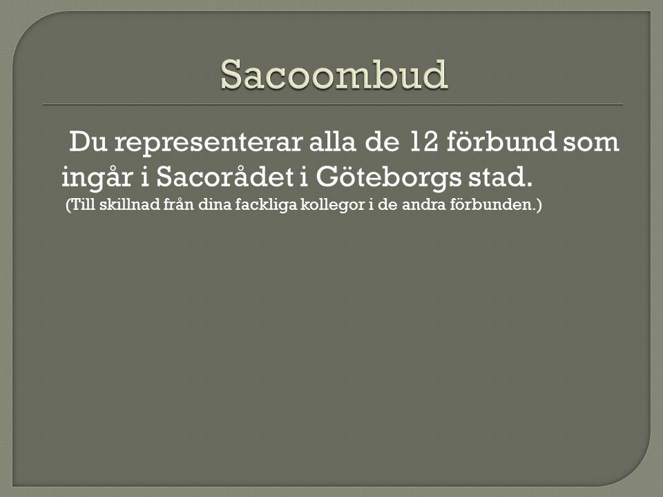 Du representerar alla de 12 förbund som ingår i Sacorådet i Göteborgs stad.