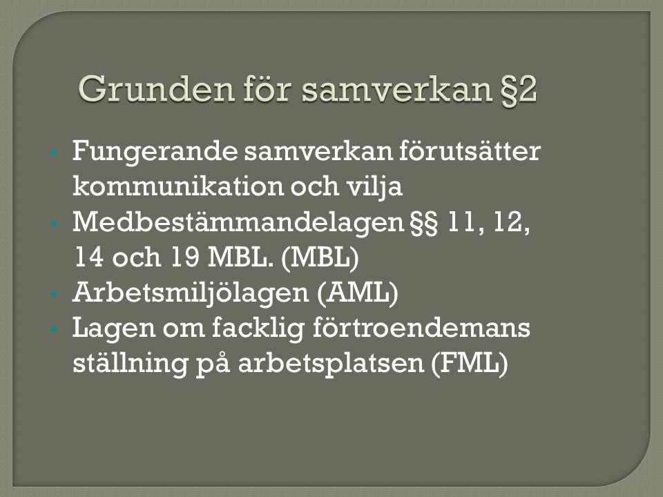 Fungerande samverkan förutsätter kommunikation och vilja Medbestämmandelagen §§ 11, 12, 14 och 19 MBL.
