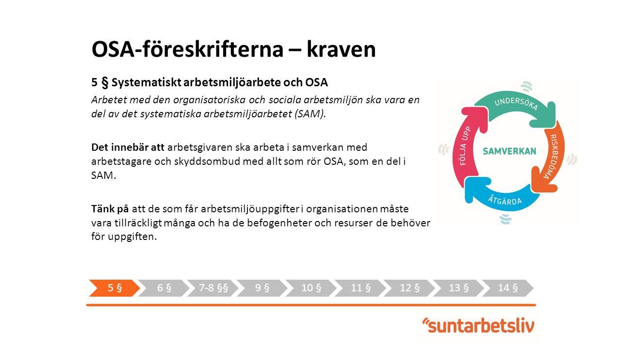 OSA-föreskrifterna – kraven 5 § Systematiskt arbetsmiljöarbete och OSA Arbetet med den organisatoriska och sociala arbetsmiljön ska vara en del av det systematiska arbetsmiljöarbetet (SAM).