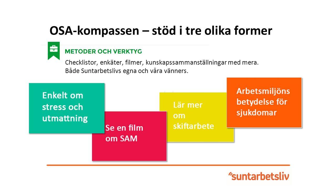 OSA-kompassen – stöd i tre olika former Checklistor, enkäter, filmer, kunskapssammanställningar med mera.