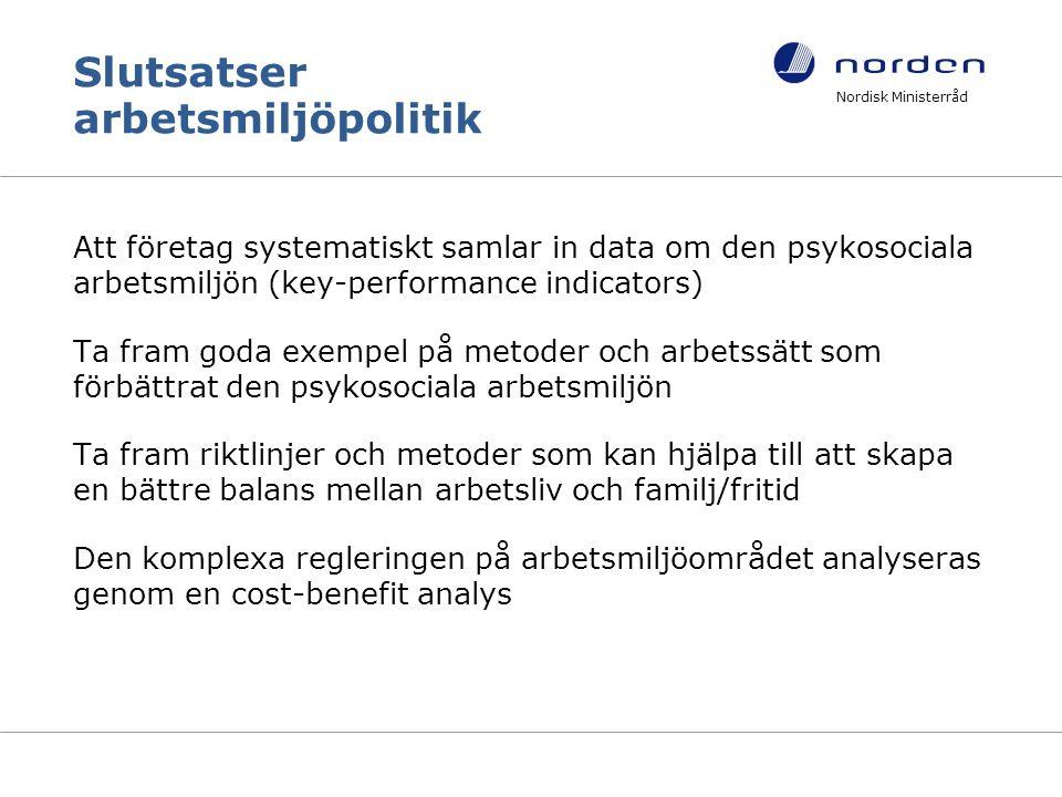 Slutsatser arbetsmiljöpolitik Att företag systematiskt samlar in data om den psykosociala arbetsmiljön (key-performance indicators) Ta fram goda exempel på metoder och arbetssätt som förbättrat den psykosociala arbetsmiljön Ta fram riktlinjer och metoder som kan hjälpa till att skapa en bättre balans mellan arbetsliv och familj/fritid Den komplexa regleringen på arbetsmiljöområdet analyseras genom en cost-benefit analys Nordisk Ministerråd