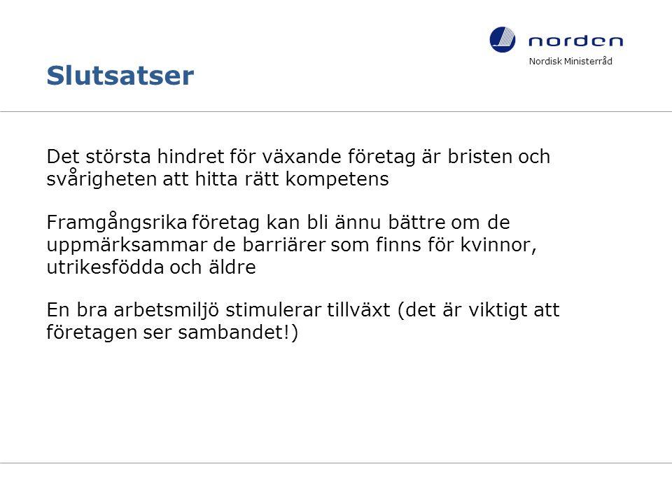 Slutsatser Det största hindret för växande företag är bristen och svårigheten att hitta rätt kompetens Framgångsrika företag kan bli ännu bättre om de uppmärksammar de barriärer som finns för kvinnor, utrikesfödda och äldre En bra arbetsmiljö stimulerar tillväxt (det är viktigt att företagen ser sambandet!) Nordisk Ministerråd