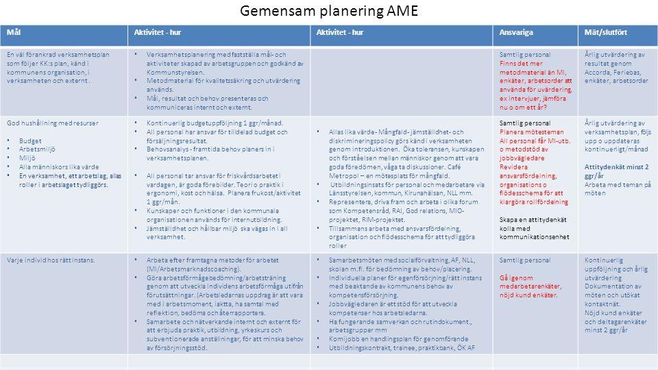 Gemensam planering AME MålAktivitet - hur AnsvarigaMät/slutfört Kommunikationsplan, Kommunicera ut vår verksamhet, våra mål mm genom olika medier, internt och externt.