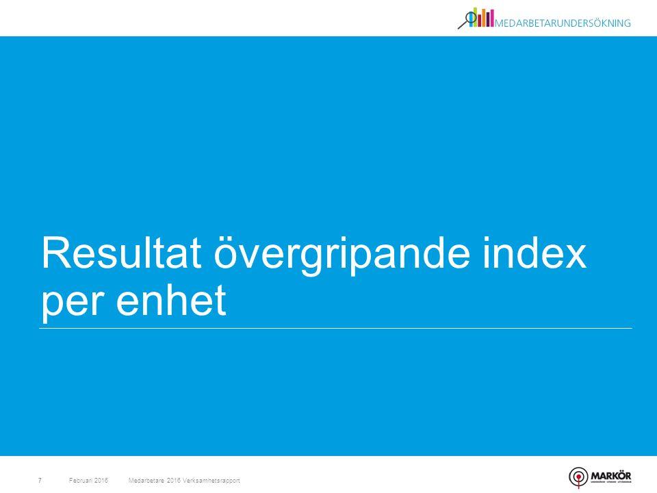 Resultat övergripande index per enhet Februari 2016Medarbetare 2016 Verksamhetsrapport7