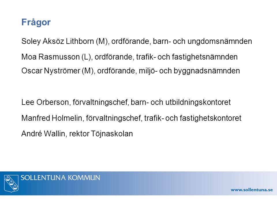 Frågor Soley Aksöz Lithborn (M), ordförande, barn- och ungdomsnämnden Moa Rasmusson (L), ordförande, trafik- och fastighetsnämnden Oscar Nyströmer (M)