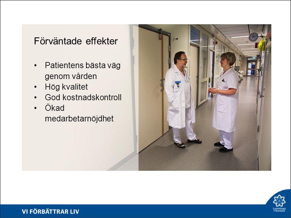 Förväntade effekter Patientens bästa väg genom vården Hög kvalitet God kostnadskontroll Ökad medarbetarnöjdhet