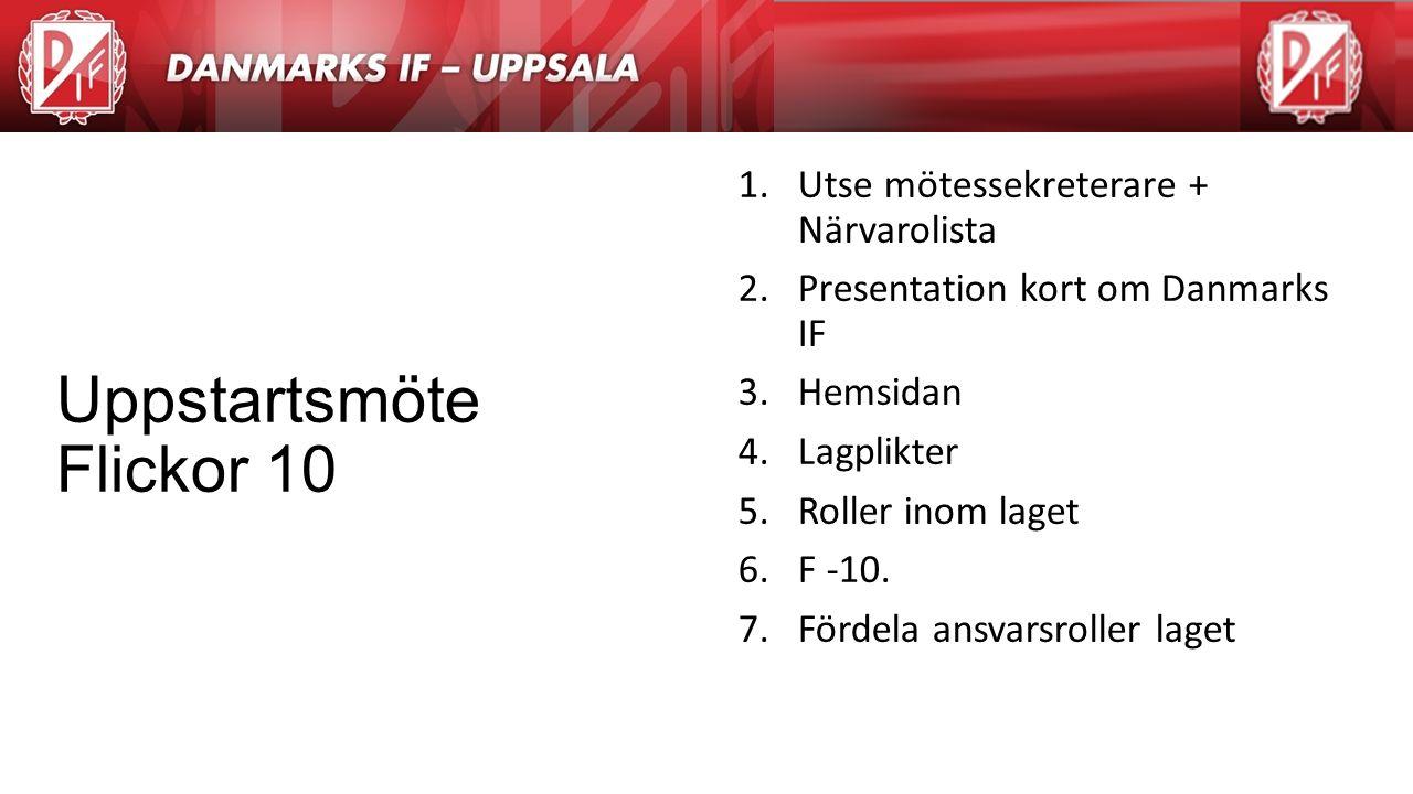 Agenda 1.Utse mötessekreterare + Närvarolista 2.Presentation kort om Danmarks IF 3.Hemsidan 4.Lagplikter 5.Roller inom laget 6.F -10. 7.Fördela ansvar